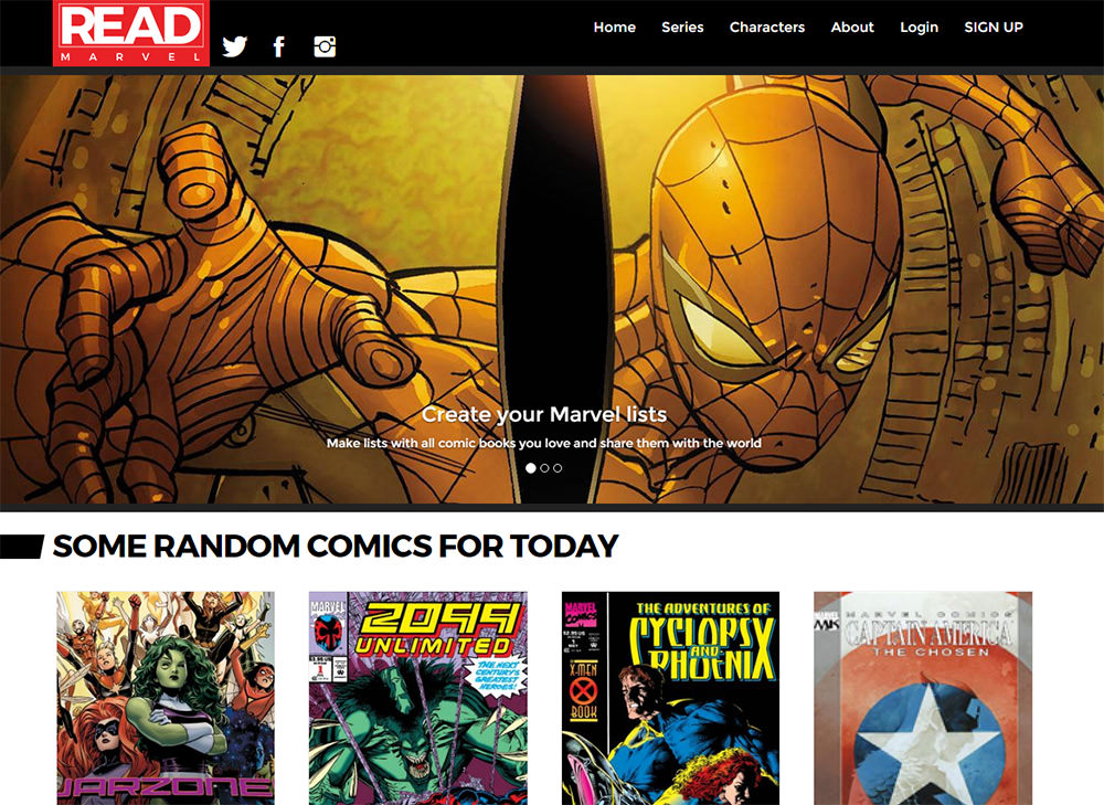 ReadMarvel homepage