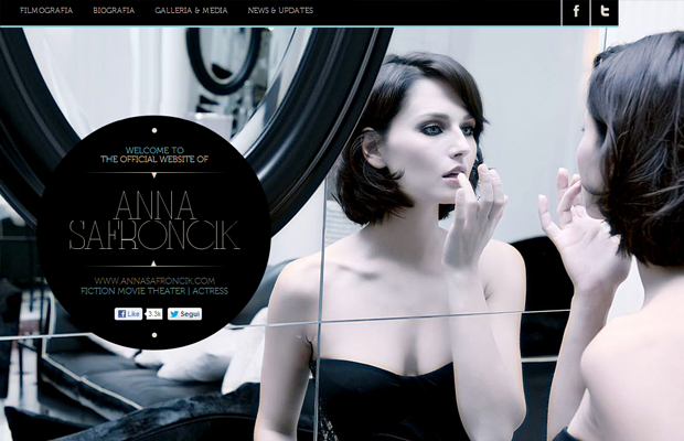 Anna Safroncik personal website layout big photo backgrounds
