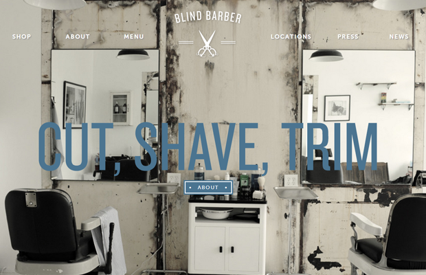 classic retro photography background web design Blind Barber