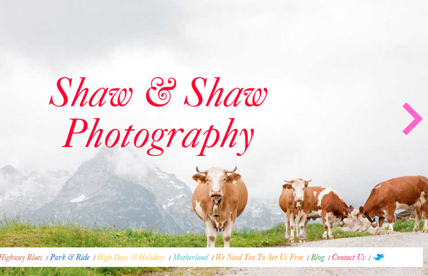 Shaw Photography website layout big photos background