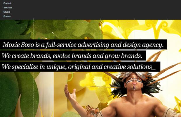 moxie sozo website layout big photos background