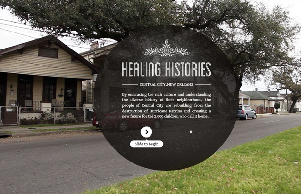 Healing Histories website New Orleans informational layout