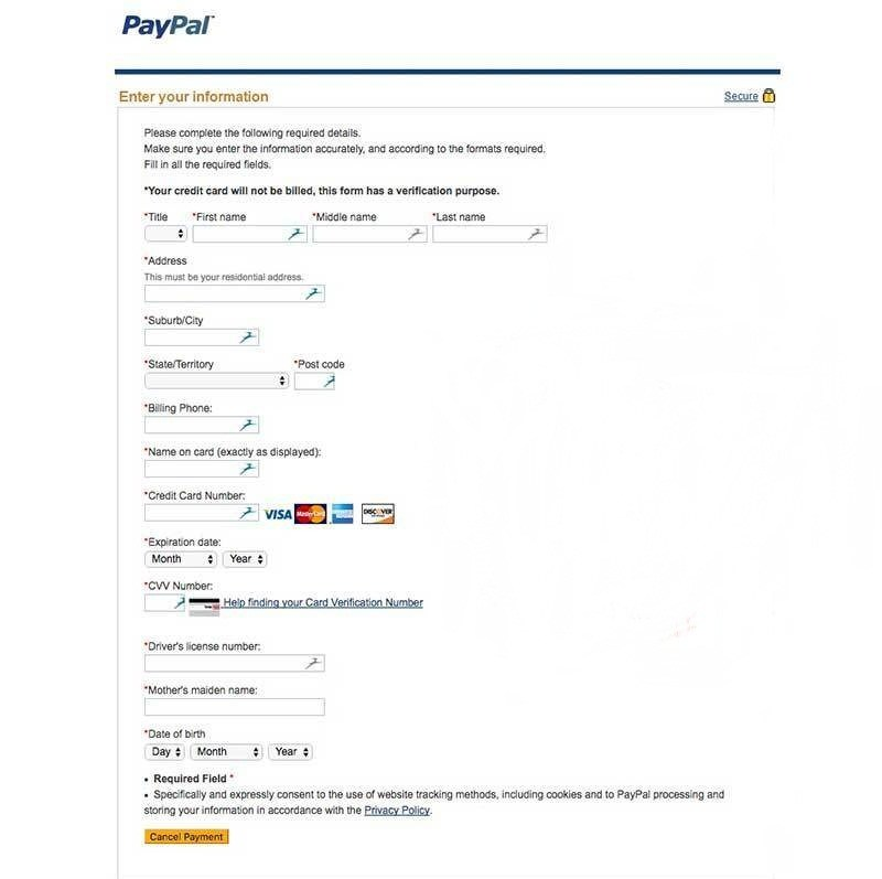 fake PayPal sign up form