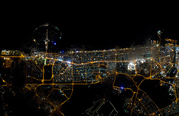 Dubai at night from space