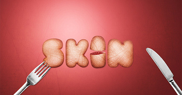 skin textured typography scene