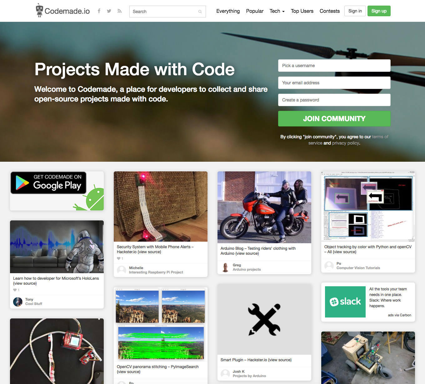 Codemade home page
