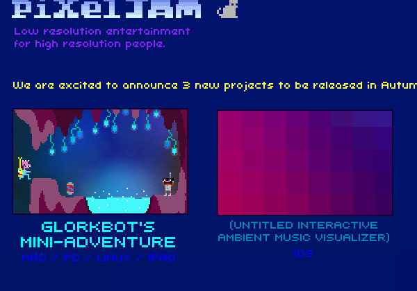Pixel jam official website layout