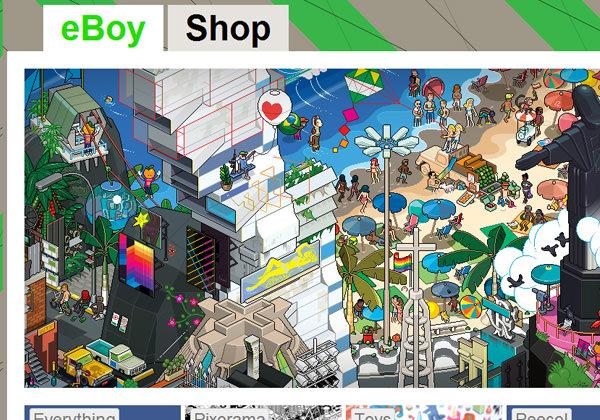 eBoy pixel style website layout design