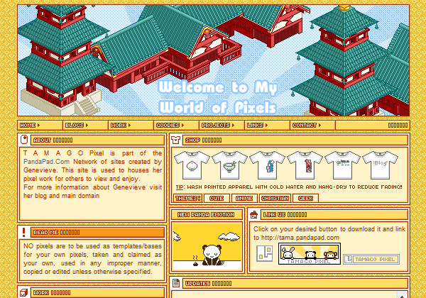 Tamago Pixel website layout PandaPad Network
