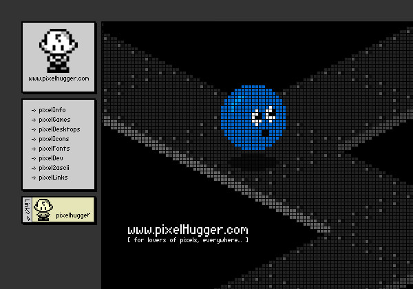 Pixel Hugger website layout design