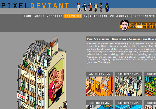pixel deviant website design layout - graphics showcase