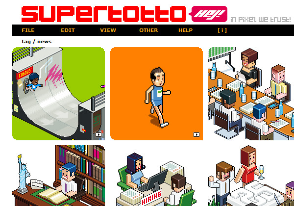 Super Totto pixel style website layout