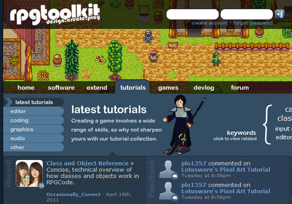 RPG Toolkit Website pixel-based banner