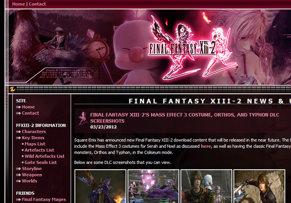 Final Fantasy XIII-2 Pixel gaming fansite