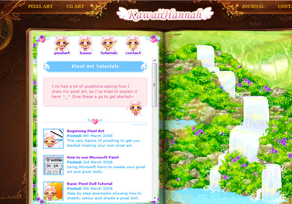 Kawaii Hannah pixel artwork tutorials website