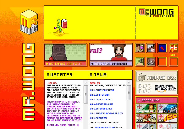 Mr. Wong Website pixel-based layout
