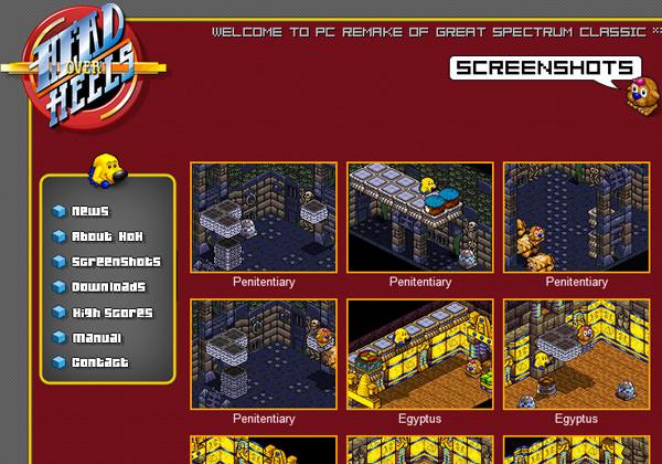 Head Over Heels pixel-style website layout