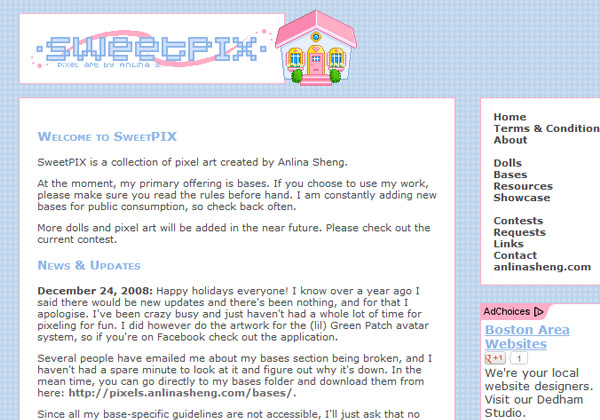 SweetPIX pixel tutorials artwork website layout