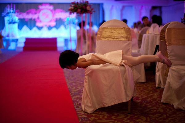 little girl planking