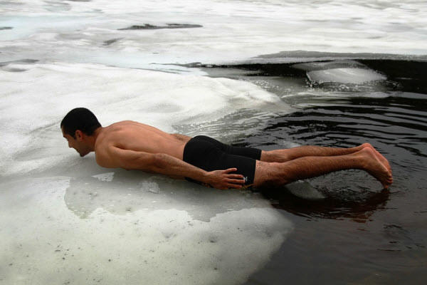 planking on a frozen lake