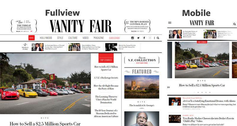 Vanity Fair Home Page