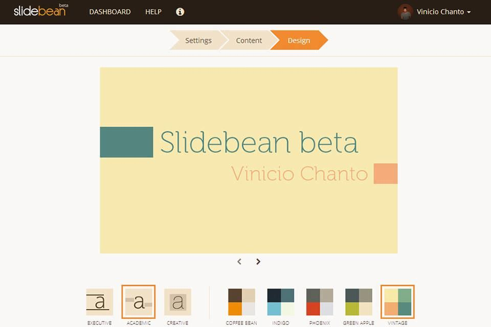 Editing dashboard of Slidebean
