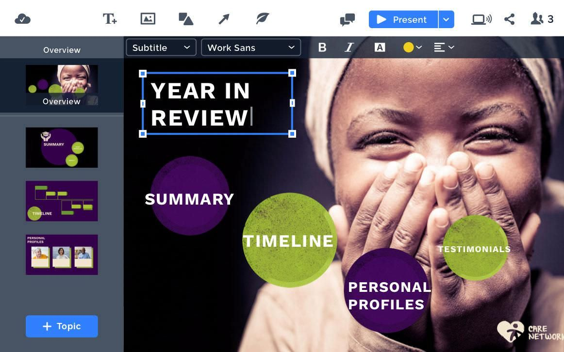 Prezi offers an easy editing dashboard