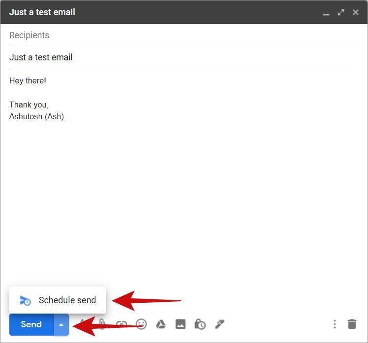 Access Schedule Send inside Gmail