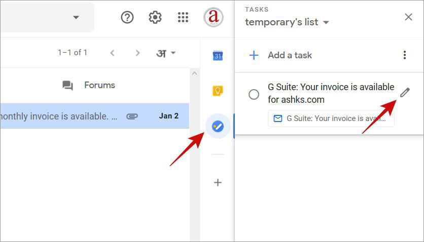 Edit a task in Google Tasks inside Gmail