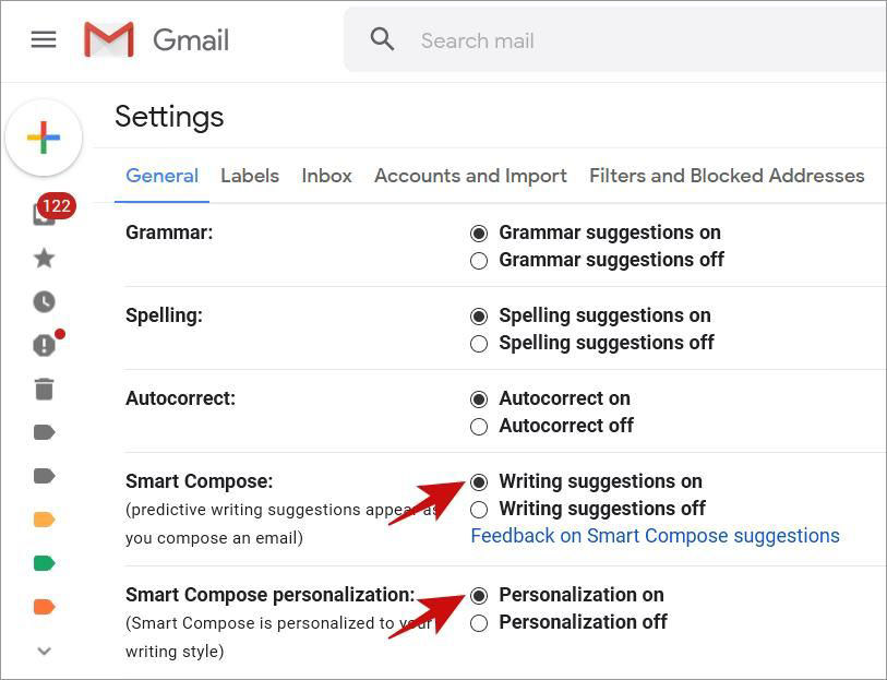 Enable AI-powered Text Suggestions in Gmail