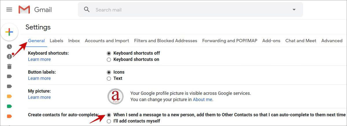 Enable Gmail to auto-create contacts