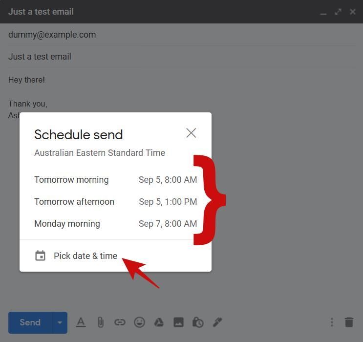 Schedule an email for later in Gmail