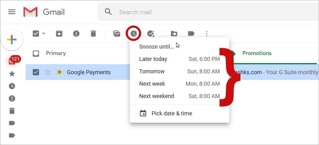Snooze an email for later in Gmail