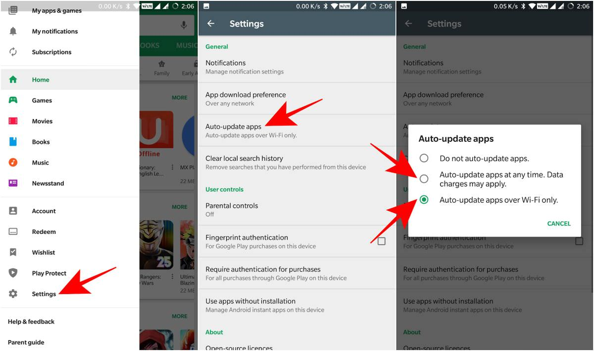 Auto-update apps using Google Play Store