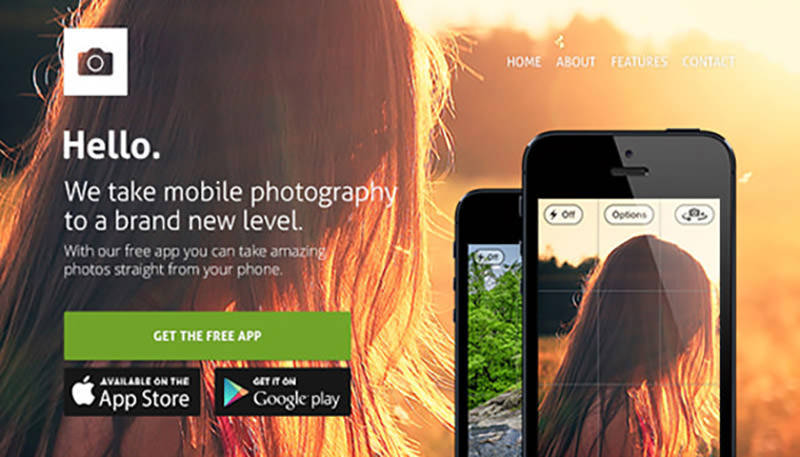 Website Template for Apps PSD