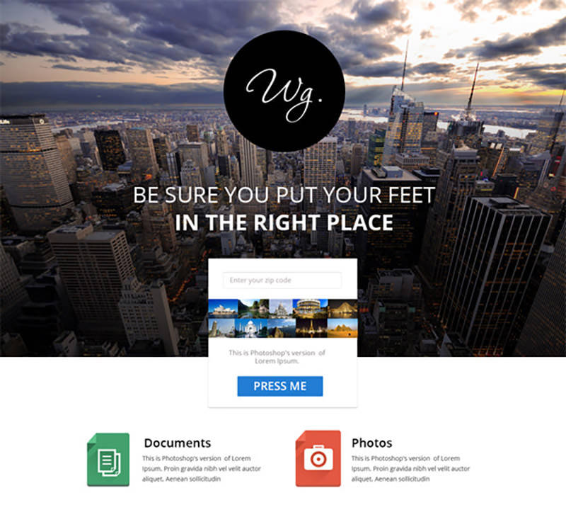 Single Page Free Website Template
