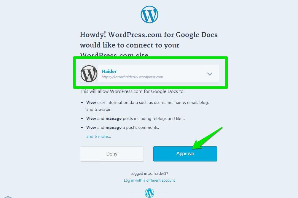 авторизовать WordPress