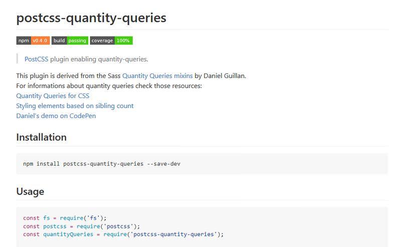 PostCSS plugin for quantity queries