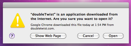 DoubleTwist Download Warning
