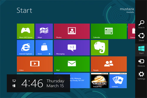 Windows 8 start page