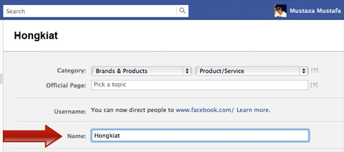 Facebook Page rename