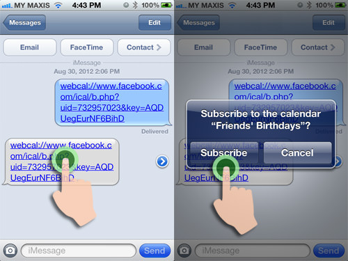 Facebook Birthday Calendar iMessage