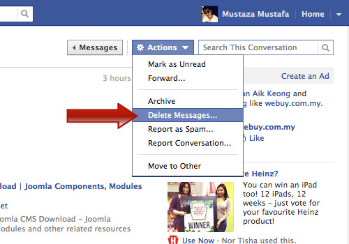 How to delete all facebook messages in one click quicktip hongkiat action delete ccuart Image collections