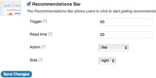 recommendation bar details