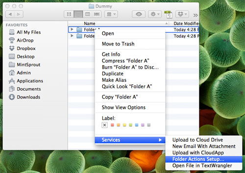 Folder Action Setup