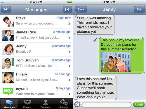mysms Messenger on Smartphone