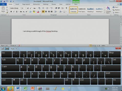 Microsoft Office Onlive desktop