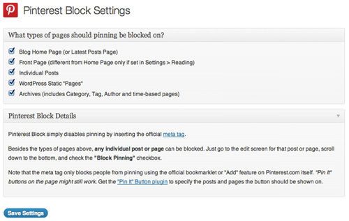 Pinterest Block Options