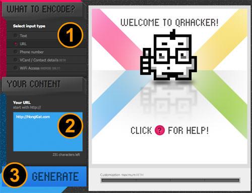 QR Hacker Input Type