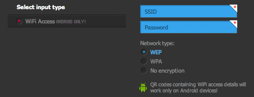 QR Hacker input wifi